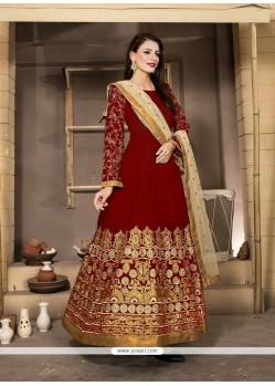 Fabulous Banglori Silk Red Anarkali Salwar Kameez
