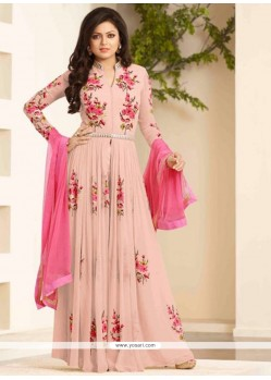 Fetching Resham Work Georgette Pink Designer Floor Length Suit