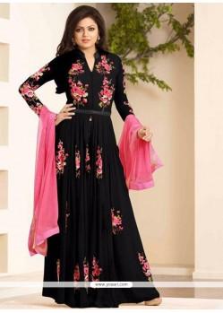 Specialised Embroidered Work Black Georgette Designer Floor Length Suit