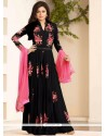 Specialised Embroidered Work Black Georgette Designer Floor Length Suit