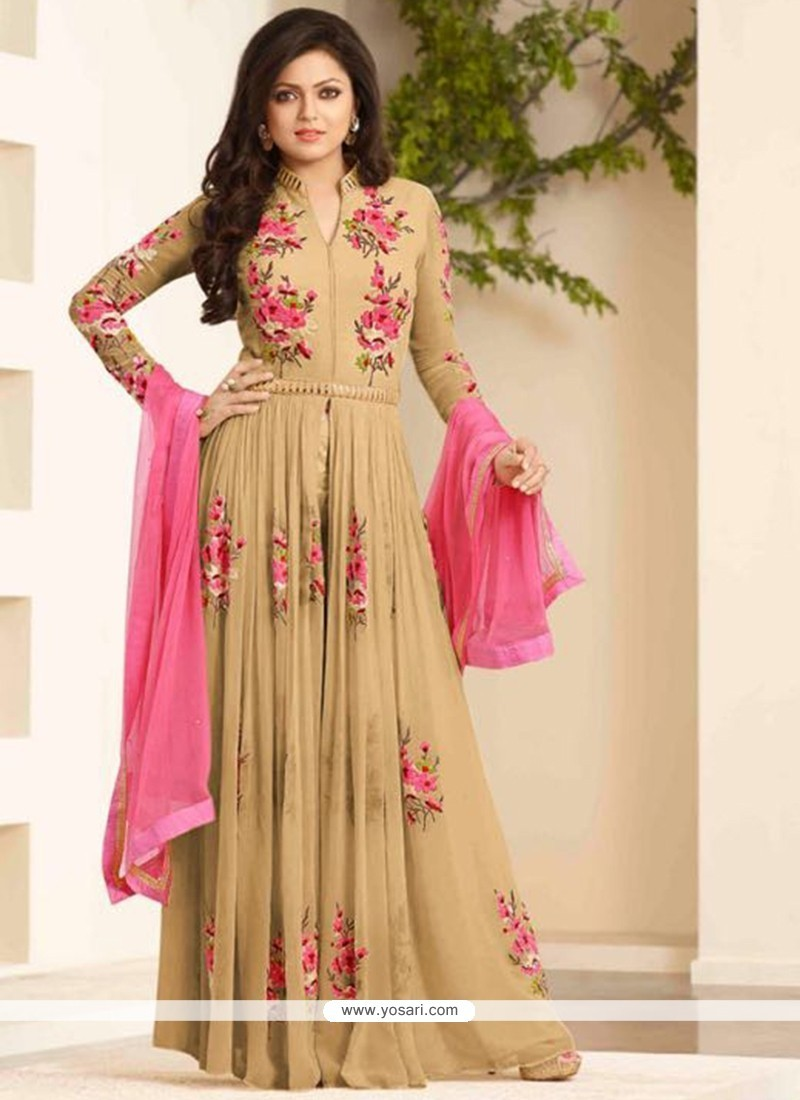 Picturesque Beige Resham Work Georgette Designer Floor Length Suit