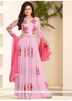 Haute Embroidered Work Pink Designer Floor Length Suit