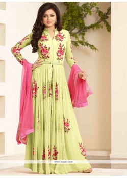 Refreshing Resham Work Yellow Georgette Designer Floor Length Suit