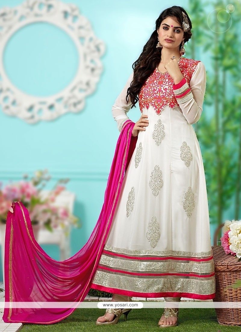 Fab Off White Georgette Anarkali Salwar Suit