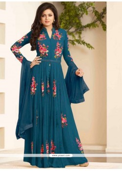 Praiseworthy Embroidered Work Georgette Designer Floor Length Suit