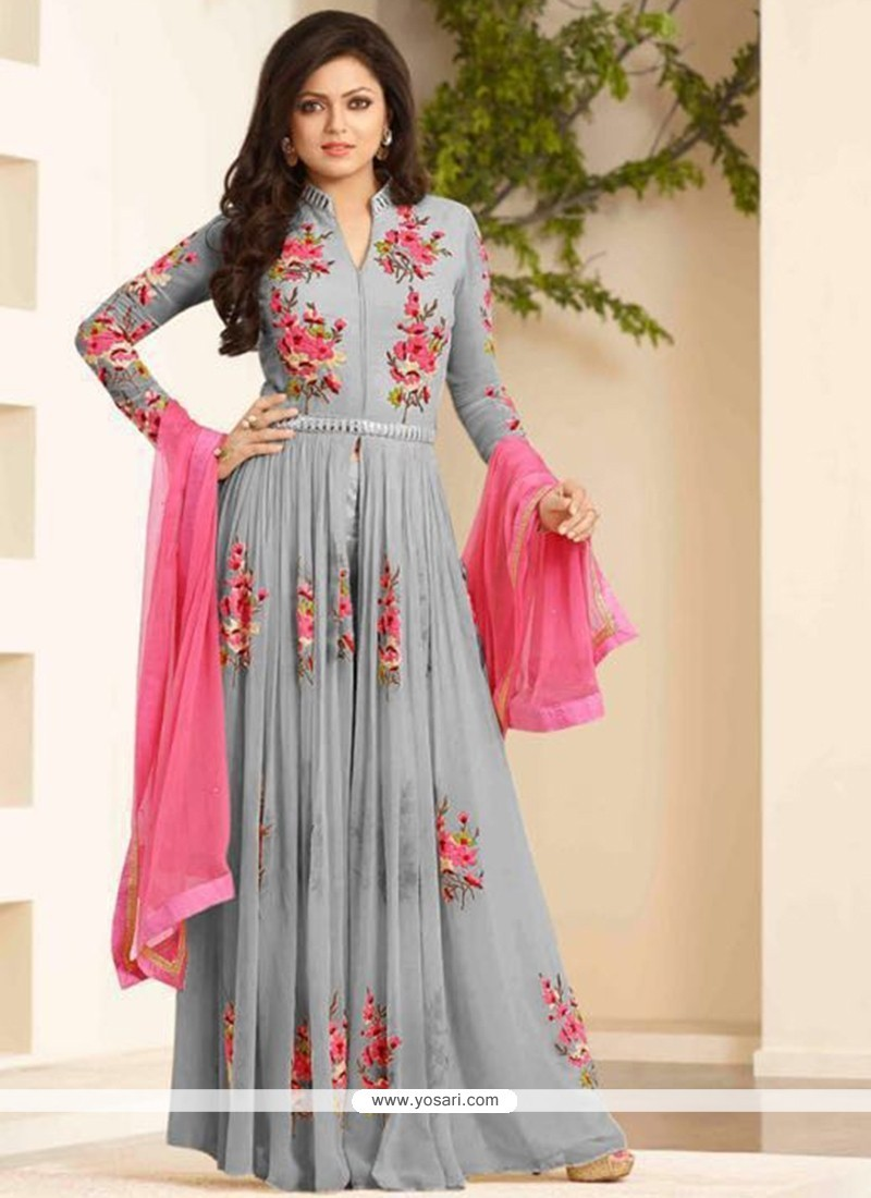 Grey Georgette Designer Floor Length Suit