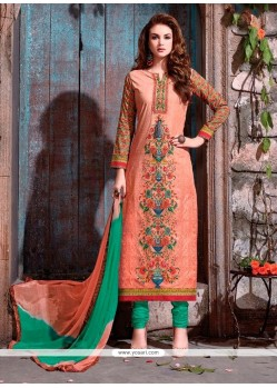 Groovy Resham Work Peach Churidar Designer Suit