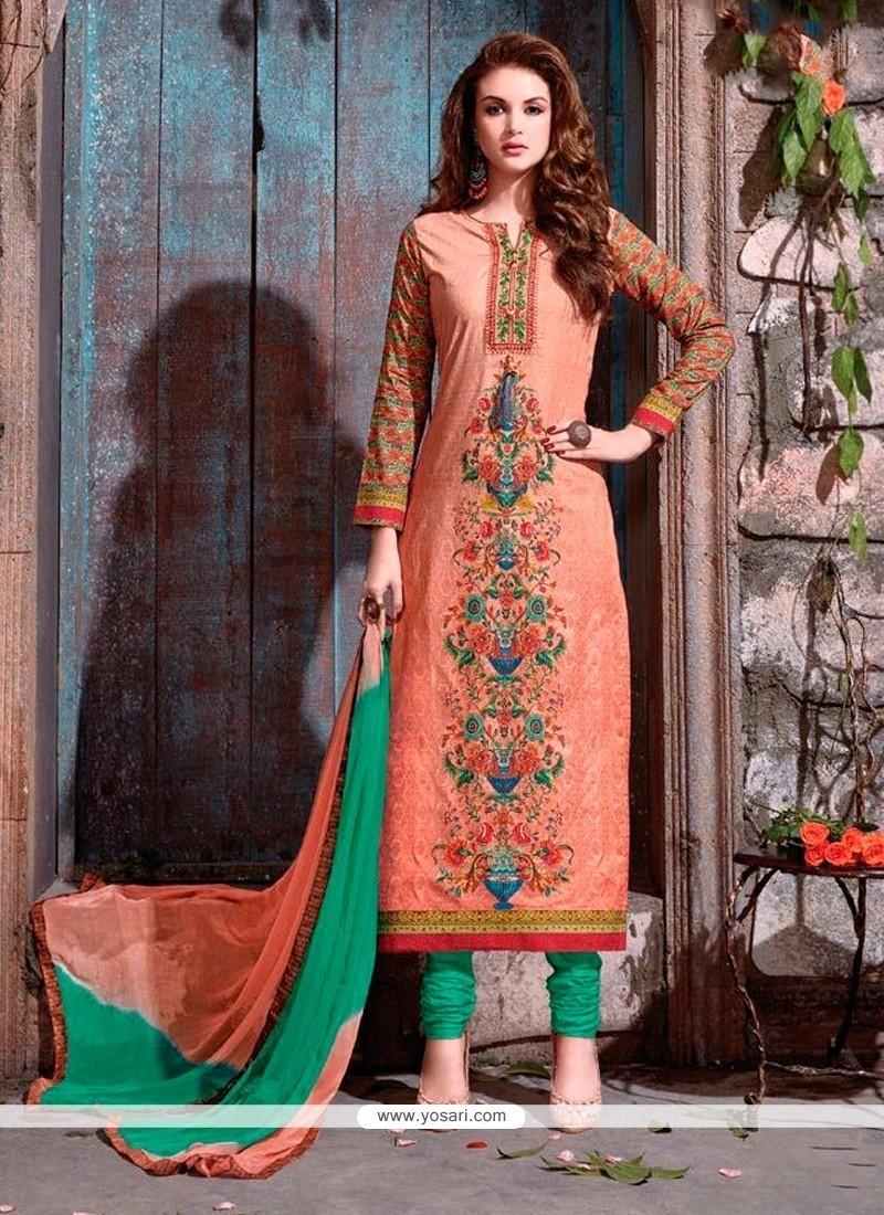 Groovy Resham Work Peach Churidar Designer Suit