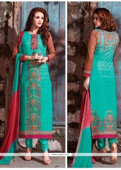 Bedazzling Cotton Satin Churidar Designer Suit