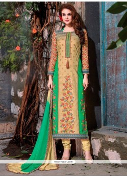 Pristine Embroidered Work Churidar Designer Suit