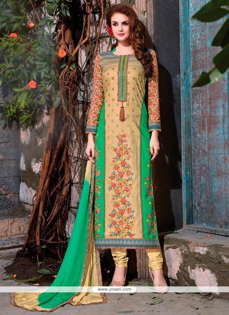 Pristine Embroidered Work Churidar Designer Suit
