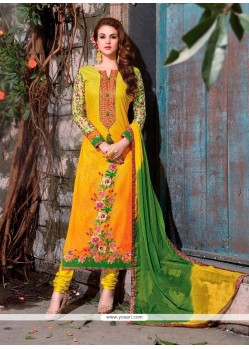 Majestic Yellow Cotton Satin Churidar Designer Suit