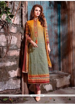 Embroidered Cotton Satin Churidar Designer Suit In Multi Colour