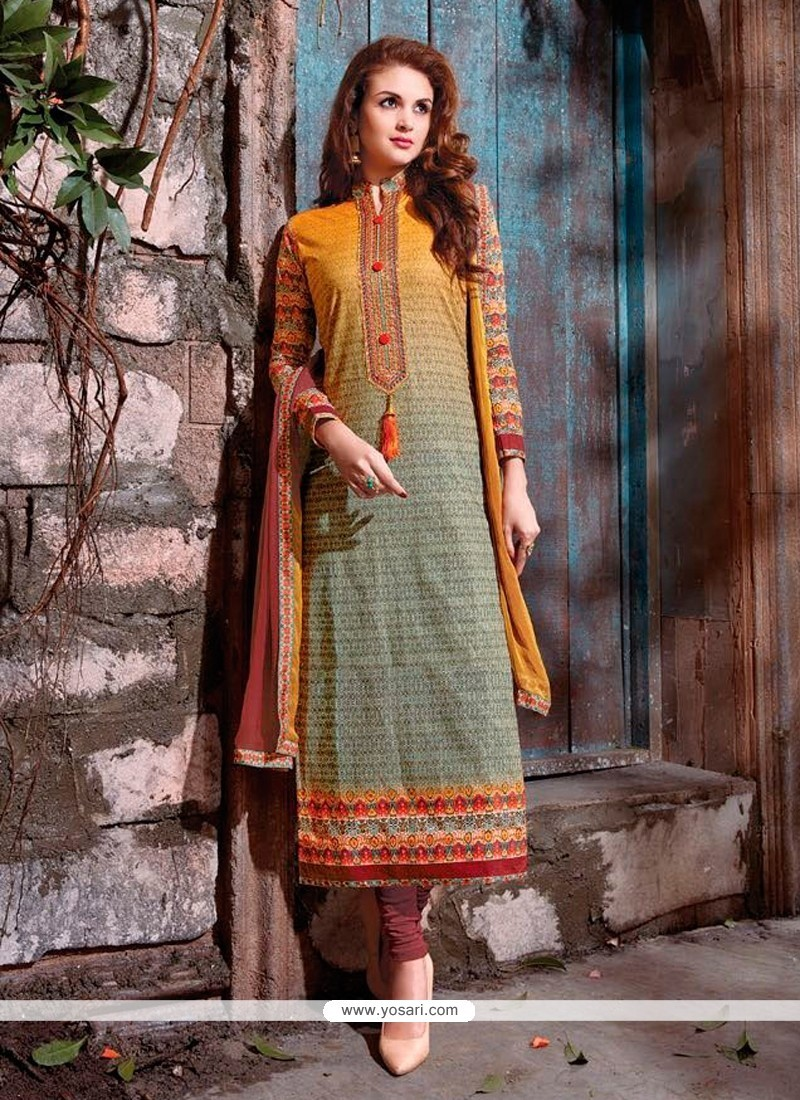 Embroidered Cotton Satin Churidar Designer Suit In Multi Colour