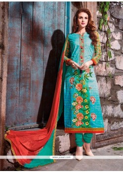 Zesty Cotton Satin Multi Colour Embroidered Work Churidar Designer Suit