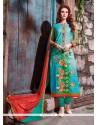 Zesty Cotton Satin Multi Colour Embroidered Work Churidar Designer Suit