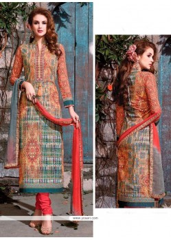 Affectionate Print Work Churidar Designer Suit