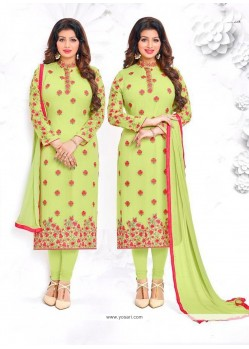 Ayesha Takia Georgette Embroidered Work Green Churidar Designer Suit