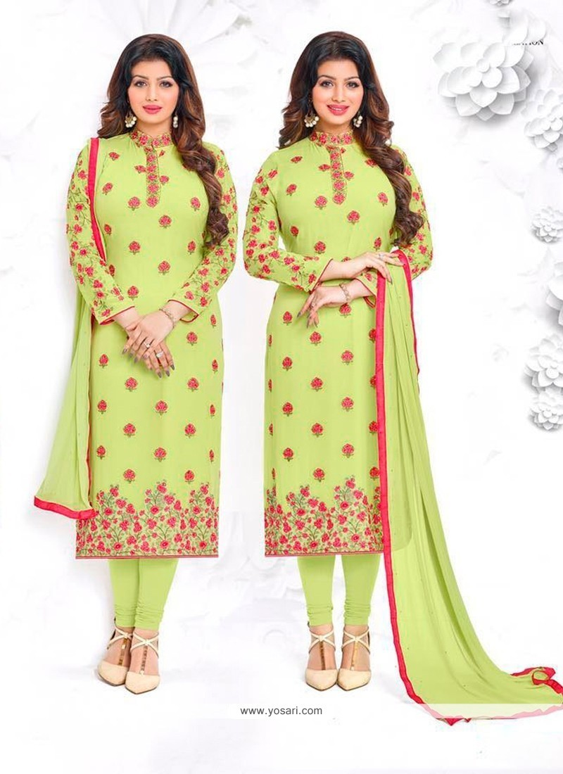 Ayesha Takia Georgette Embroidered Work Green Churidar Designer Suit