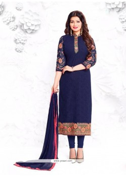 Ayesha Takia Embroidered Work Navy Blue Churidar Designer Suit