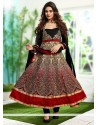 Cream And Maroon Georgette Anarkali Suit