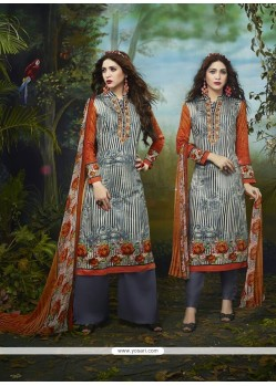 Perfervid Print Work Cotton Satin Churidar Designer Suit