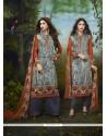 Perfervid Print Work Cotton Satin Churidar Designer Suit