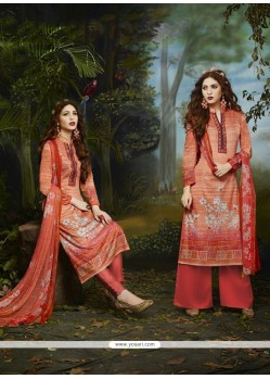 Prepossessing Cotton Satin Multi Colour Embroidered Work Designer Palazzo Salwar Kameez