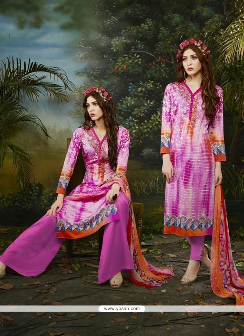 Imperial Multi Colour Cotton Satin Churidar Designer Suit