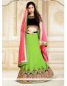 Amazing Silk Black And Green A Line Lehenga Choli