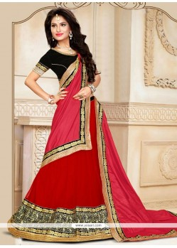 Staring Red Patch Border Work A Line Lehenga Choli