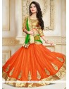 Opulent Net Orange A Line Lehenga Choli