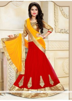 Peppy Red A Line Lehenga Choli