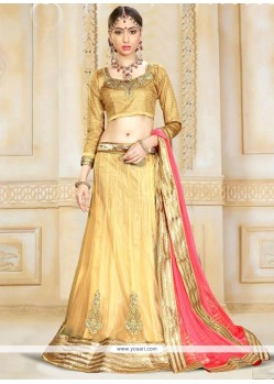Pleasance Net Cream Patch Border Work A Line Lehenga Choli