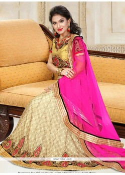 Mystic Pink And Yellow Net A Line Lehenga Choli