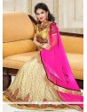 Mystic Pink And Yellow Net A Line Lehenga Choli