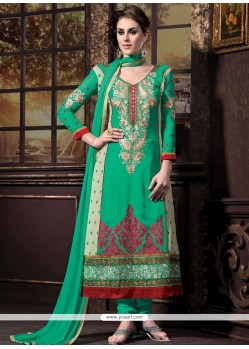 Elite Green And Cream Georgette Churidar Suit
