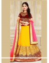 Fine Patch Border Work Velvet A Line Lehenga Choli