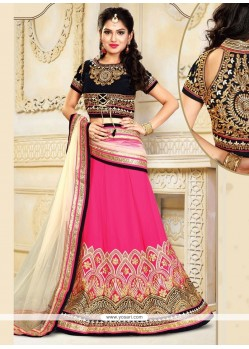 Exciting Black And Pink Patch Border Work Faux Chiffon A Line Lehenga Choli