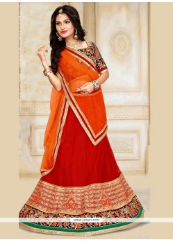 Capricious Net Embroidered Work A Line Lehenga Choli