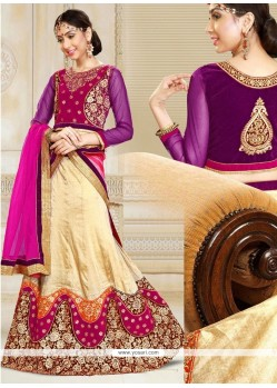 Riveting Velvet Purple A Line Lehenga Choli
