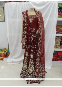 Excellent Maroon Embroidered Work Net Designer A Line Lehenga Choli