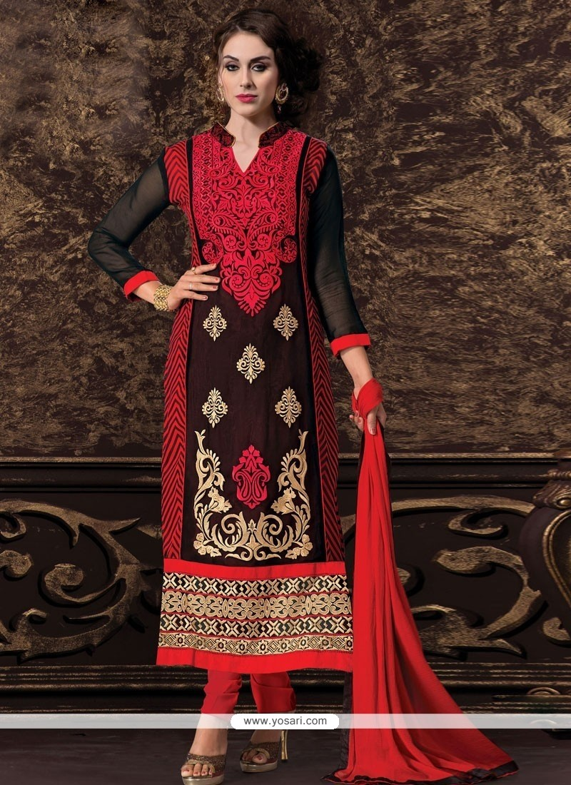 Beauteous Black Georgette Churidar Salwar Kameez