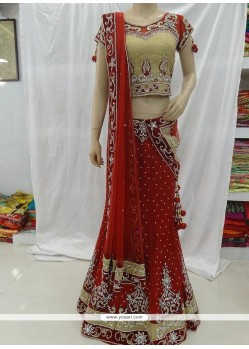 Distinctive Net Red Designer A Line Lehenga Choli