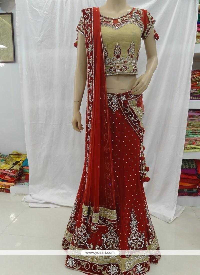 Distinctive Net Red Designer A Line Lehenga Choli