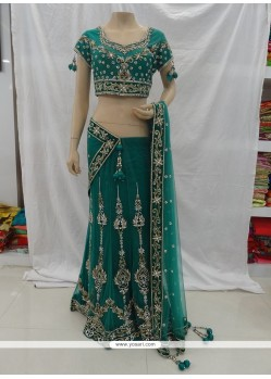Trendy Sea Green Resham Work Net Designer A Line Lehenga Choli