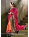 Entrancing Hot Pink And Orange Designer Traditional Sarees