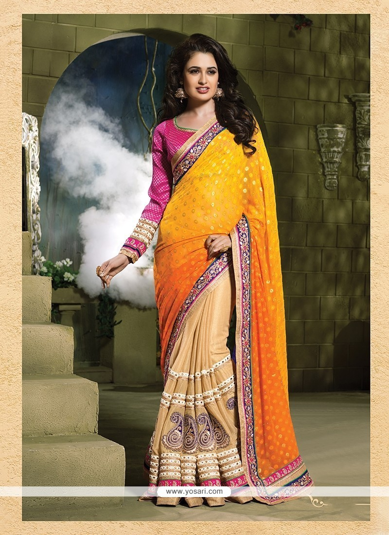 Mystical Jacquard Cream And Yellow Designer Traditional Sarees