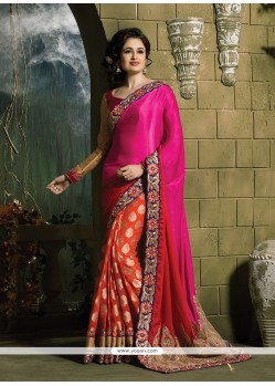 Vibrant Hot Pink And Orange Patch Border Work Classic Saree