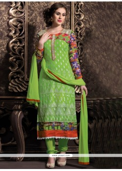 Glorious Green Georgette Churidar Suit